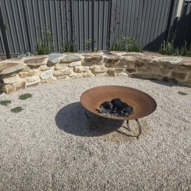 fire pit stone bench seat gravel thyme